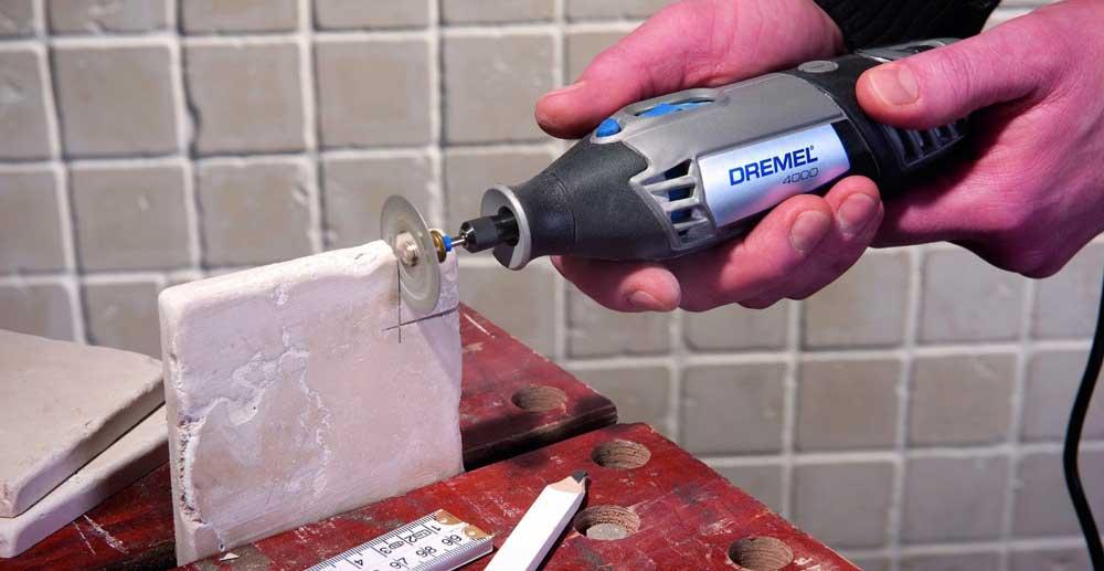 use a dremel to cut ceramic tile